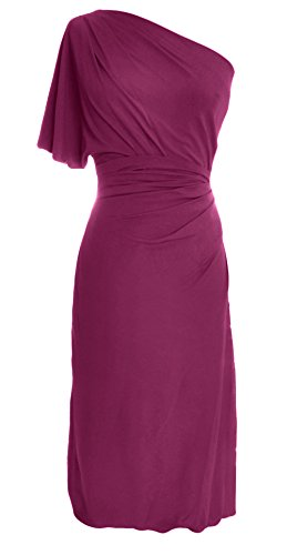 MACloth Cocktail Dress Formal Gown Party Jersey Women Shoulder Weinrot Wedding Short One SqwrHS1