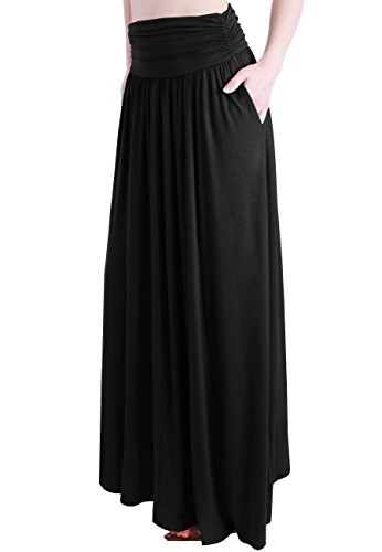 TRENDY UNITED Women's Rayon Spandex High Waist Shirring Maxi Skirt With Pockets (Blk, Medium) by TRENDY UNITED (Image #2)
