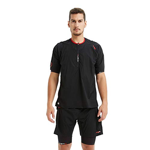 Kinetik Revange Men's Trail Running Shirts,Double Layers Compression Shirts, Marathon Shirts,Training Shirts (M, Black)