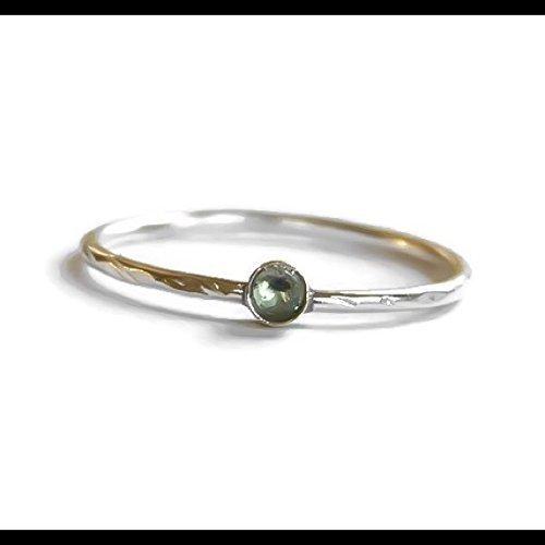 Sterling Silver 2 MM Aquamarine March Birthstone Ring