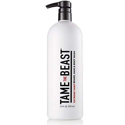 Sexy Body Shower Gel - Extreme Yawp All-in-One Men's Body Wash by Tame the Beast - 33 ounce Large Liter Pump 3-in-1 Hair, Beard & Body Shampoo - Eucalyptus, Menthol, Caffeine, Green Tea, Vitamins A C & E