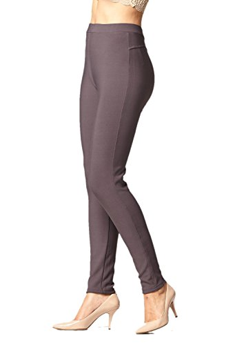 (Premium Women's Stretch Ponte Pants - Dressy Leggings with Butt Lift - Charcoal Grey - Large/X-Large)