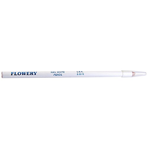 "Flowery Nail White Pencil with Cuticle Pusher Cap - 7"" Long"
