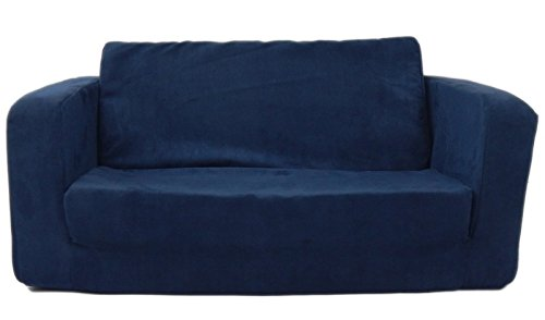 Fun Furnishings 55234 Toddler Flip Sofa in Micro Suede Fabric Dark Blue