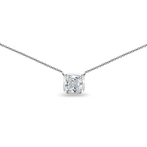 Sterling Silver Created White Sapphire Cushion-Cut Bezel-Set Solitaire Choker ()