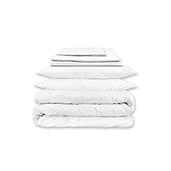 Image of Home and Kitchen A1 Home Collections Bedding A1HC Move in Bundle, GOTS Certified 100% Organic Cotton Cover, Sheet Set, Duvet Insert and Pillows,8 Internal Ties,Queen, White