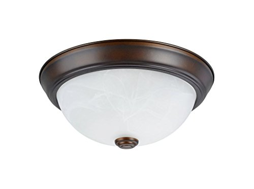 - Aspen Creative 63013-2 Two-Light Flush Mount In Bronze with White Alabaster Glass Shade