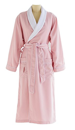 - Ultimate Doeskin Microfiber Bathrobe Lined In Terry - Luxury Spa Bathrobe for Women and Men - Pink/White - Small