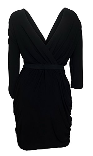 EVogues Plus size Deep V-Neck Wrap Bodice Long Sleeve Dress Black - 3X
