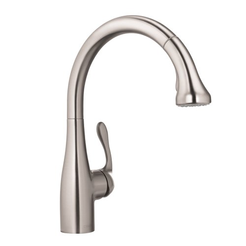 hansgrohe Allegro E Gourmet Premium 1-Handle 15-inch Tall Stainless Steel Kitchen Faucet with Pull Down Sprayer Magnetic Docking Spray Head in Steel Optic, 04066860