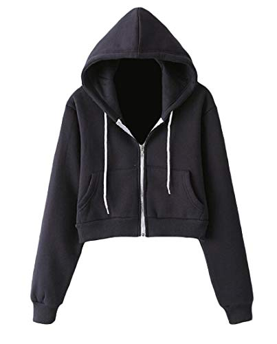 (Cromoncent Womens Zip-Front Jacket Thick Casual Hooded Cropped Sweatshirts Navy Blue Small)