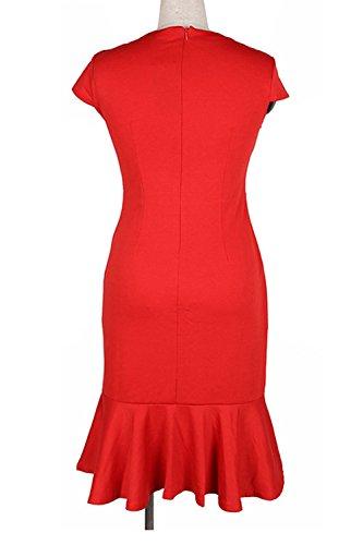 La Mujer Es Elegante Flor De Bodycon Vestido De Cóctel De Oficina Red