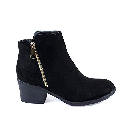 Reneeze Pama-01 Womens Fashionable Stacked Heels Ankle Booties - Black,Black,8