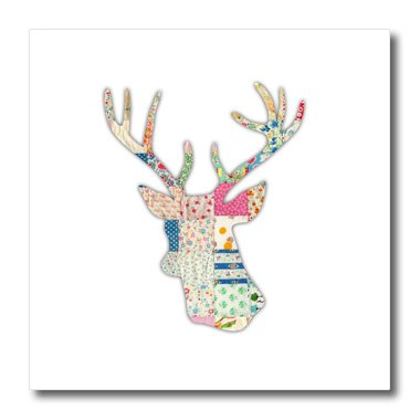 3dRose ht_179697_1 Colorful Girly Deer Head Silhouette. Modern Country Stag with Antlers-Iron on Heat Transfer Paper for White Material, 8 by 8-Inch