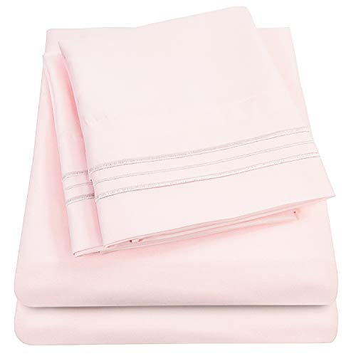 1500 Supreme Collection Extra Soft Full Sheets Set, Pale Pink - Luxury Bed Sheets Set with Deep Pocket Wrinkle Free Hypoallergenic Bedding, Over 40 Colors, Full Size, Pale Pink (Pink Sheet Set Full)