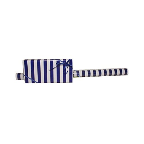 JAM Paper Glossy Wrapping Paper - Jumbo - 40 sq. ft - Blue & White Stripe - Sold Individually