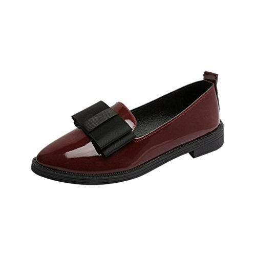 Igemy Femmes Bout Pointu Chaussures Oxford Occasionnel Vin Chaussures Plates Collectrices Confortable