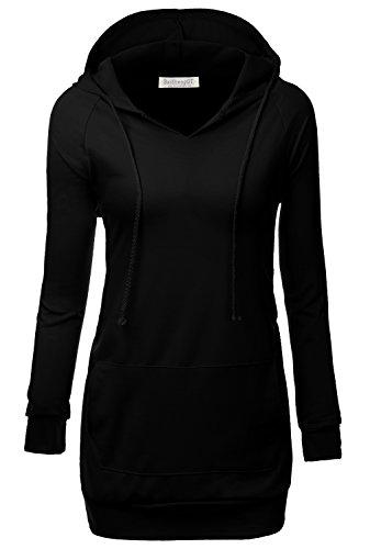 BAISHENGGT Women's Raglan Long Sleeve Tunic Sweatshirt Hoodie Large Black (Tunic Sweater Long Sleeve)