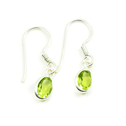 Gemsonclick Natural Oval Shape Green Peridot Fish Hook Drop Earrings 925 Sterling Silver Handmade Pair