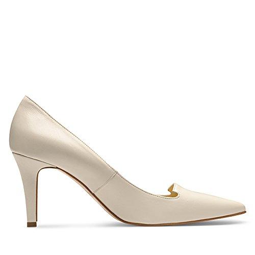 Cremeweiß para Zapatos vestir mujer Hueso de Evita de Piel Shoes SzwOTO