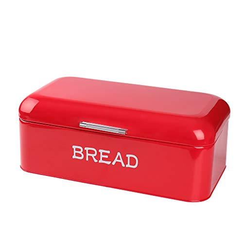 Hot Sale X384 Square Metal Large Vintage Kitchen Storage Tin Canister/Bread Box/Bin/Container/Holder/Holiday Gifts(Red) (Red Tin Vintage)