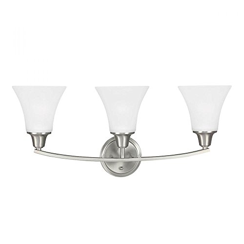 (Metcalf Three Light Wall / Bath Vanity in Brushed Nickel with Satin Etched Glass)