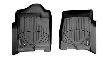 WeatherTech 2008-2013 Chevy Silverado 1500 Crew Cab Double Cab Front Set Custom Floor Mats Liners - Black ()