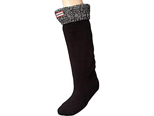 Hunter Women's 6 Stitch Cable Boot Sock Black/Grey Medium (Womens Rubber Boot Liners)
