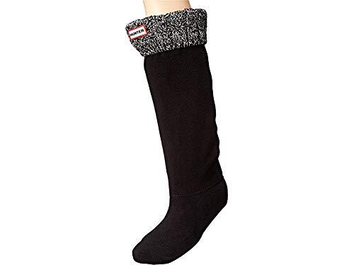 Hunter Women's 6 Stitch Cable Boot Sock Black/Grey Medium (Fleece Black Boots)