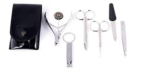 (Zinger Professional Manicure Set - Silver Matt Colour Steel - Set of 6 finest quality German steel made manicure tools)