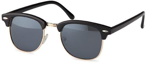 Vintage Sonnenbrille im angesagten 60er Browline-Style mit markantem Halbrahmen, auch für schmalere Gesichter und Kopfformen (schwarz-smoke)