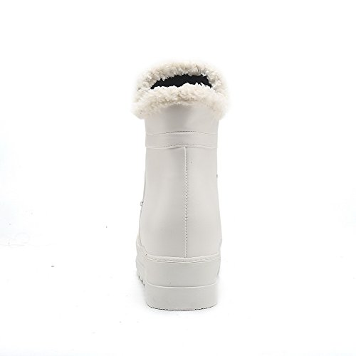 AllhqFashion Womens Round Closed Toe Low-Heels Soft Material Low-Top Solid Boots White QufDGQ