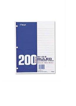 Mead Filler Paper, Loose Leaf Paper, Wide Ruled, 200 Sheets/Pack (15200) (4, Wide Ruled)