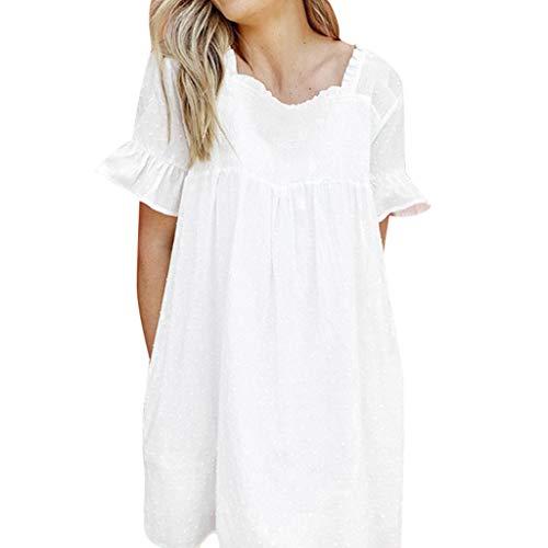 Goddess Paisley Dress - Big Sale,YetouWomen's Summer Casual Beach Long Dress Ruffles Lace Up Bandage Dot Printed Mini Waist Dress White