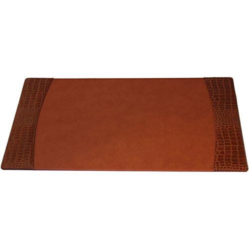 Dacasso Protacini Italian Patent Leather 34 x 20 Side-Rail Desk Pad grey by Dacasso