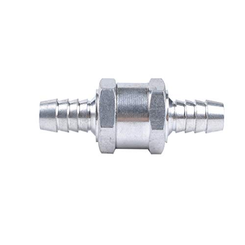 YunZyun Check Valve and 2PCS Hose Clamp Aluminium Alloy Fuel Non Return Check Valve One Way Petrol w/Spring Clip,Prevents Fuel from Returning Back to The Tank and Keeps It in The Line (D)