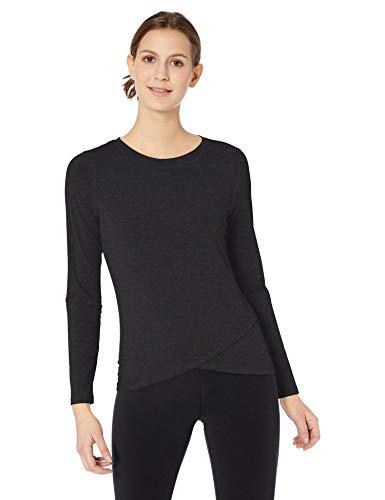 Amazon Essentials Women's Studio Long-Sleeve Lightweight Cross-Front T-Shirt, -black, Large
