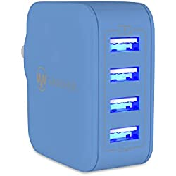USB iPhone Charger 31W 6.2A Universal 4-Port USB Travel Wall Charger with Hidden LED Indicator Light by Wanshine - Blue