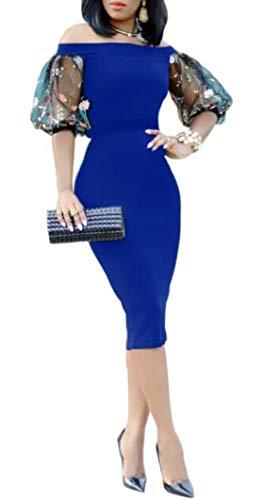 - LETSVDO Women's Sexy Off Shoulder Short Sleeve Bodycon Mini Dress Tulle Sleeves High Waisted Knee Length Skirts Blue