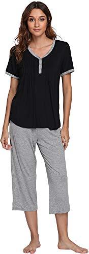 (NEIWAI Women's Short Sleeve Sleepwear Bamboo Pjs Capri Pants Pajama Set Black L)