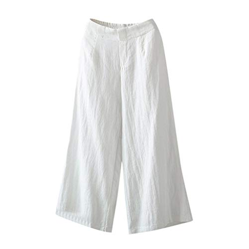 F_topbu Linen Casual Pants for Women Wide Leg Elastic Waist Palazzo Culottes Trousers Pants White