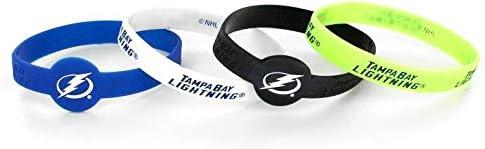 aminco NHL Tampa Bay Lightning Silicone Bracelets 4-Pack