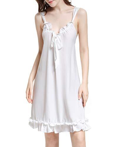 RIKILIO Sleepwear for Womens Short Retro Ruffle Dress Comfy Victorian Nightgown(White,XL)