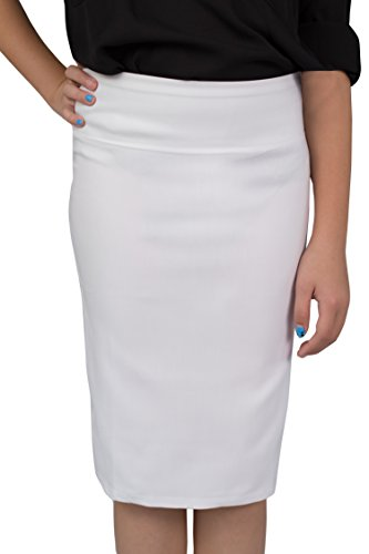 Caldore Girls 7-16 Pencil Skirt (Small, White) (8 Pencils)