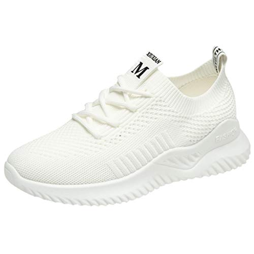 (Benficial New Women's Shoes Mesh Shoes Leisure Sports Shoes are Breathable in Summer Shoe White)