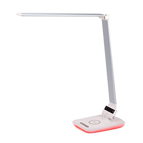 Imesun Eye-caring Dimmable LED Desk Lamp Wireless Charger Colorful Night Light 3 in 1 Touch-sensitive with USB Port  Flexible Arm  3 Lighting Modes and 4 Dimming Level Silver