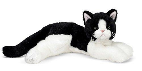 Bearington Domino Plush Stuffed Animal Black and White Tuxedo Cat, Kitten (Stuffed Kitty Cat)