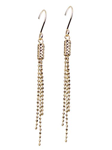 10K Yellow Gold Diamond-Cut Bead Drop Earring with Euro Wire Clasp