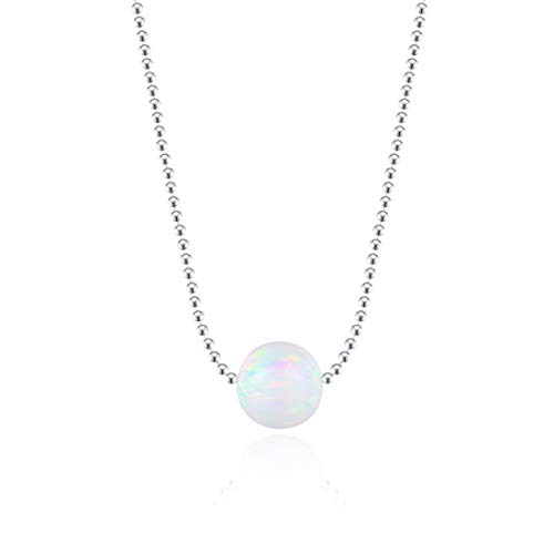 FANCIME Opal Choker Necklace 925 Sterling Silver 8mm White Ball Opal Pendant Jewlery For Women Girls 13+2