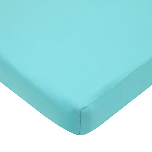 American Baby Company Fitted Portable/Mini Crib Sheet, 100% Cotton Percale, Aqua (Aqua Crib Sheet)